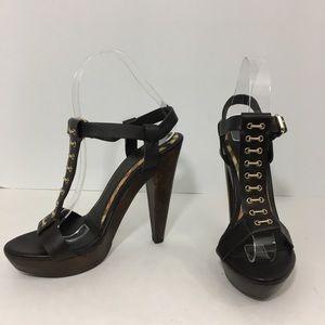 Burberry brown leather platform stripy heels 7